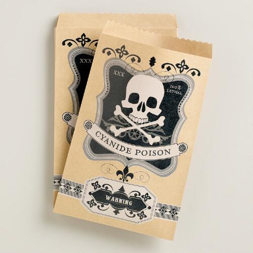 Cyanide Poison Halloween Kraft Goodie Bags, 20-Count