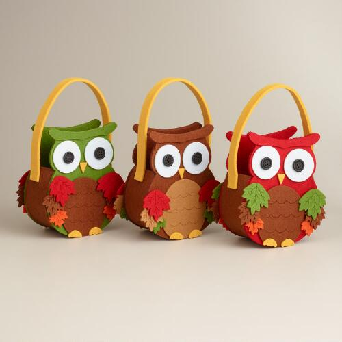 Owl Harvest Felt Containers, Set of 3