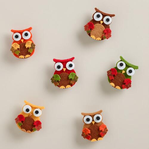 Owl Harvest Felt Clips, Set of 6