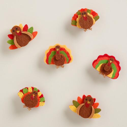 Turkey Harvest Felt Clips, Set of 6