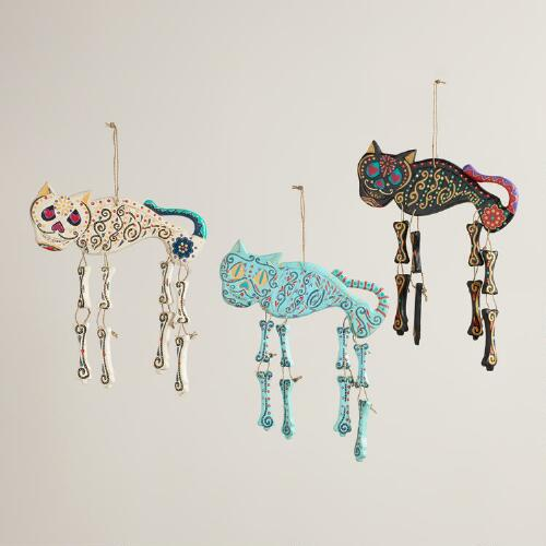 Wooden Cat Skeleton Wall Decor, Set of 3