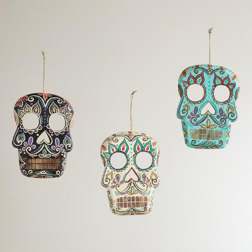 Wooden Skull Wall Decor, Set of 3