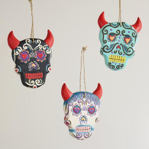 Wooden Horned Skull Wall Decor, Set of 3