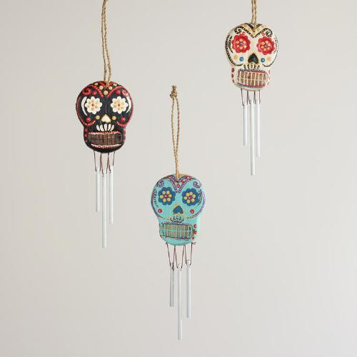 Mini Wooden Skull Wind Chimes, Set of 3