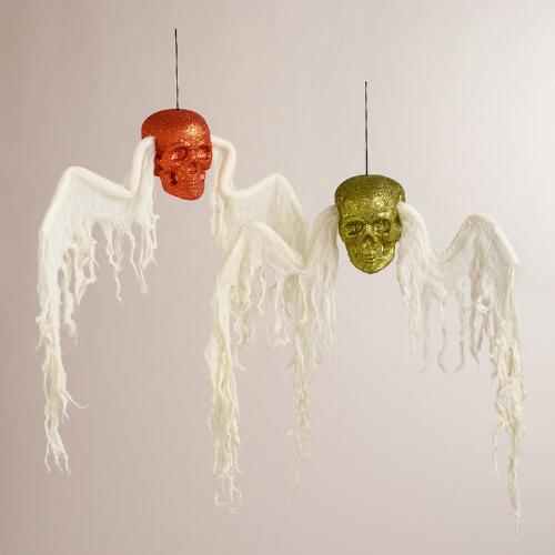 Hanging Winged Glitter Skulls, Set of 2