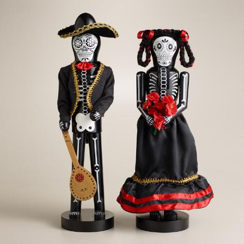 "Wooden 14"" Los Muertos Nutcrackers, Set of 2"