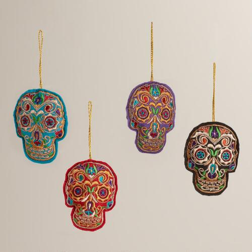 Embroidered Fabric Skull Ornaments, Set of 4