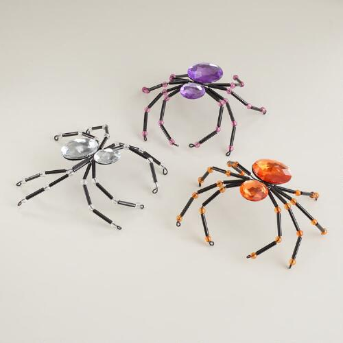 Jeweled Spiders, Set of 3