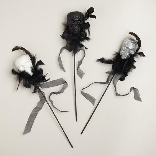 Glitter Feathered Skull Stems, Set of 3