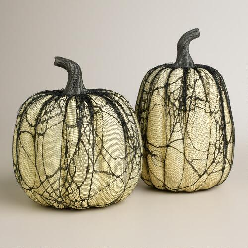 Large Lace White Pumpkins, Set of 2