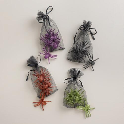 6-Count Glitter Spiders, Set of 4