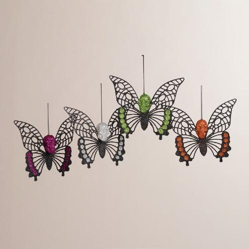 Glitter Skull Butterfly Ornaments, Set of 4
