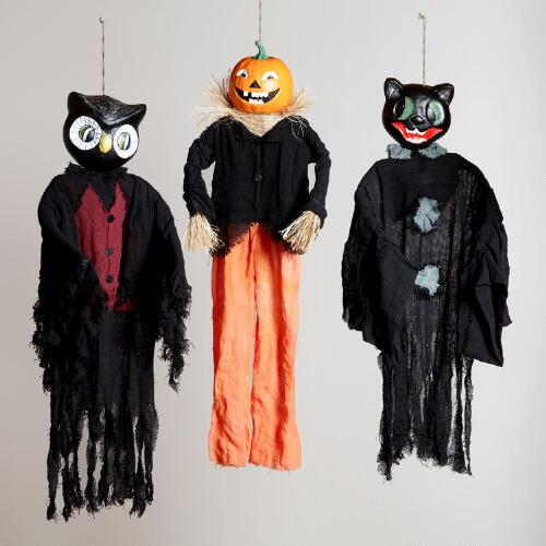 Vintage-Inspired Halloween Figures, Set of 3