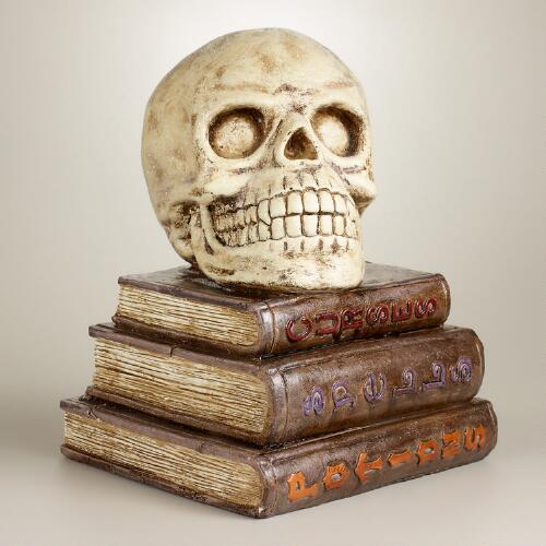 Skull on Books Decor
