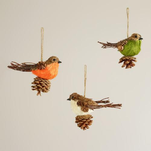 Natural Fiber Pinecone Bird Ornaments, Set of 3