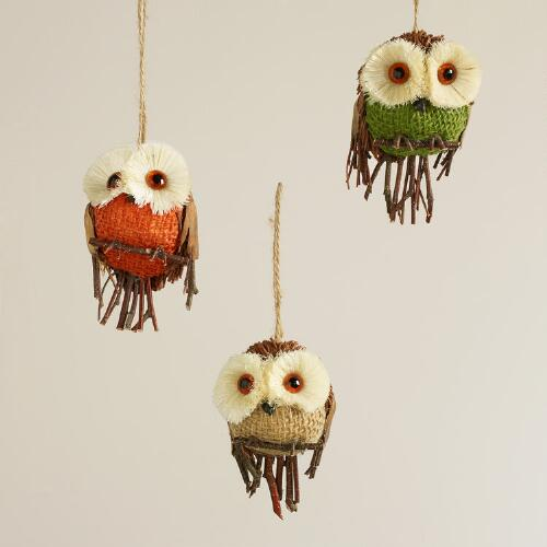 Natural Fiber Burlap Owl Ornaments, Set of 3