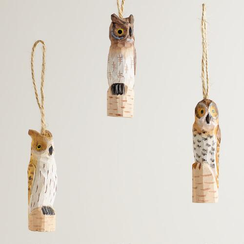 Wooden Skinny Owl Ornaments, Set of 3