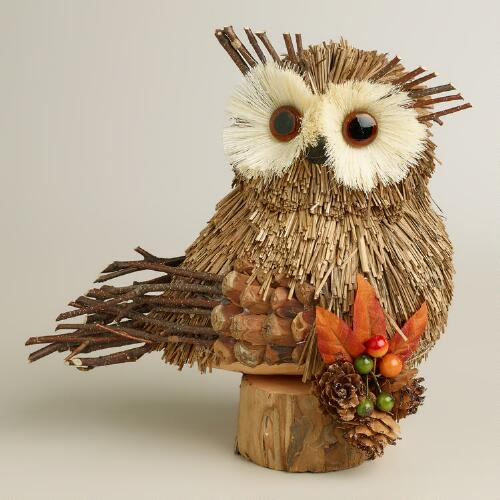 Natural Fiber Harvest Owl Decor