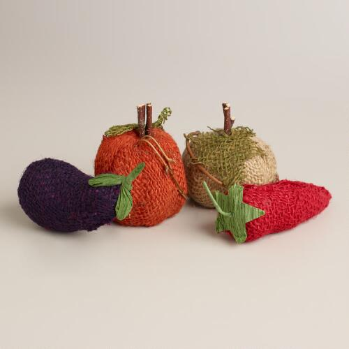 Mini Burlap Veggies, Set of 4