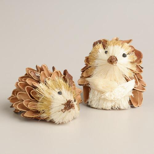 Mini Natural-Fiber Hedgehogs, Set of 2