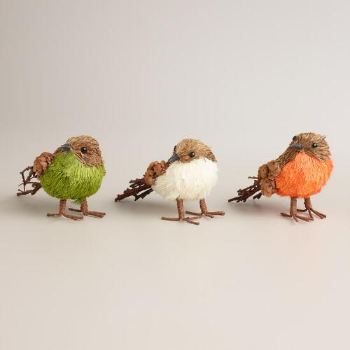 Mini Natural Fiber Birds, Set of 3