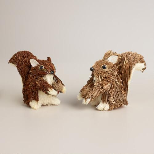 Mini Natural Fiber Squirrels, Set of 2
