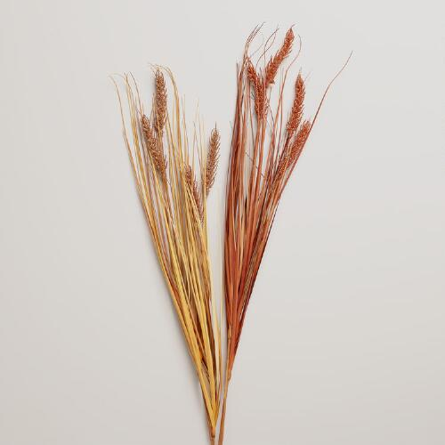 Glitter Wheatgrass Stems, Set of 2