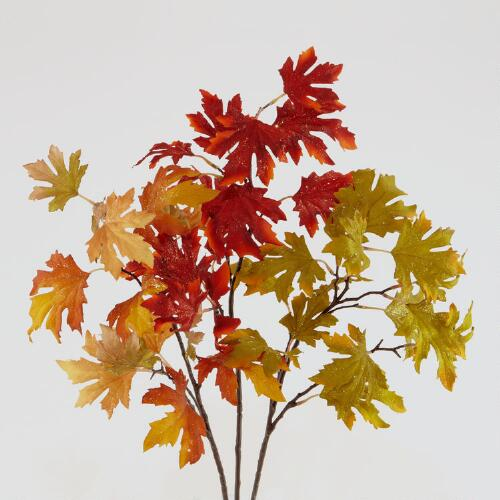 Glitter Maple-Leaf Stems, Set of 3