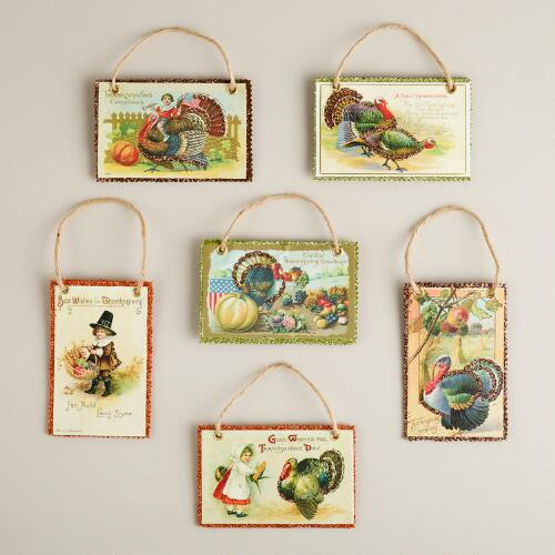 Harvest Vintage Reproduction Postcard Ornaments, Set of 6