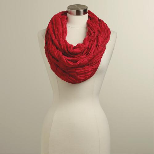 Red Woven Infinity Scarf