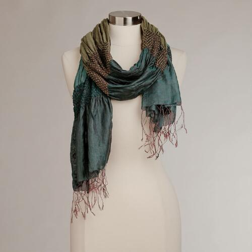 Teal and Green Puckered Silk Scarf