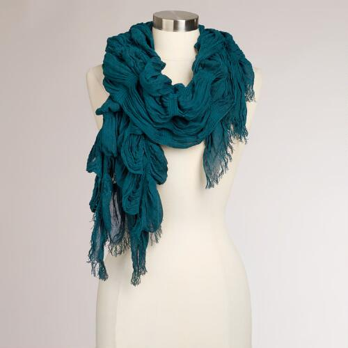Teal Ruched Scarf