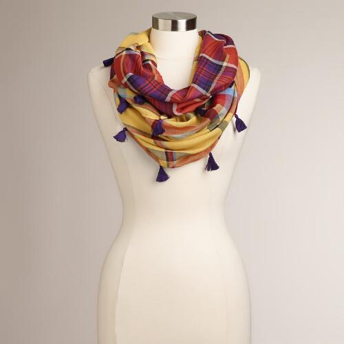 Yellow and Purple Plaid Infinity Scarf