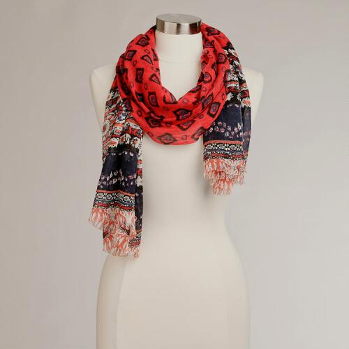 Red and Blue Paisley Scarf