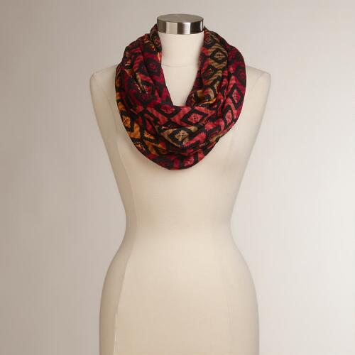Red Ikat Infinity Scarf