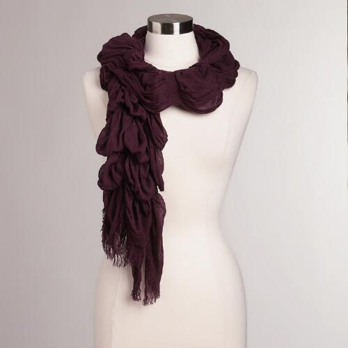 Burgundy Ruched Scarf