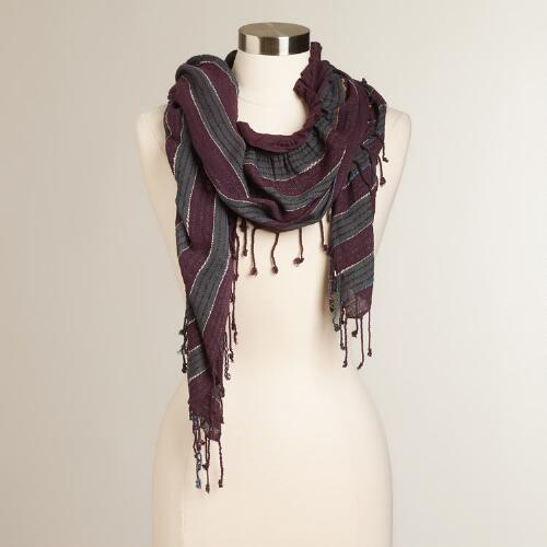 Purple Striped Ruched Scarf