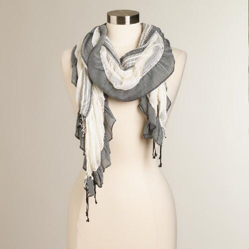 Cream and Black Ruched Scarf