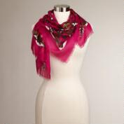 Fuchsia and Olive Square Animal Print Scarf