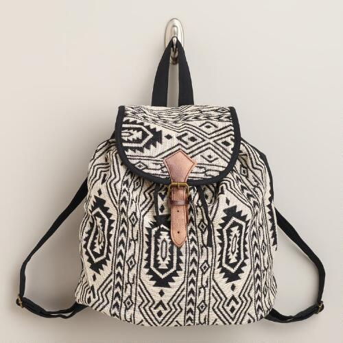 Black and White Woven Backpack
