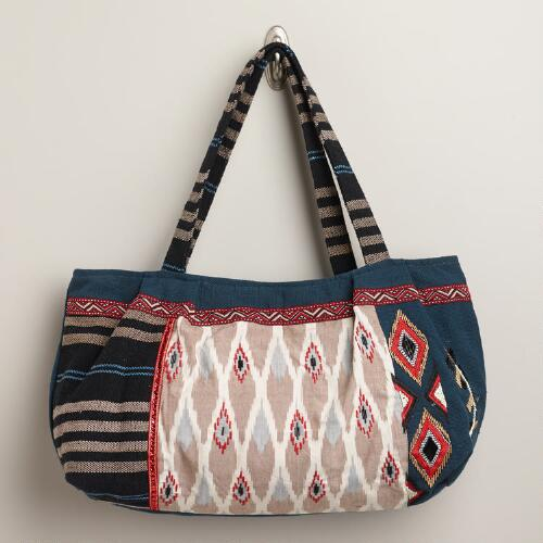 Red and Blue Embroidered Ikat Bag