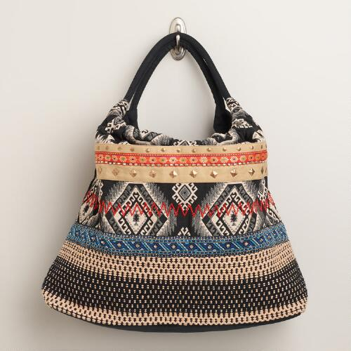 Black and Blue Embroidered Bag