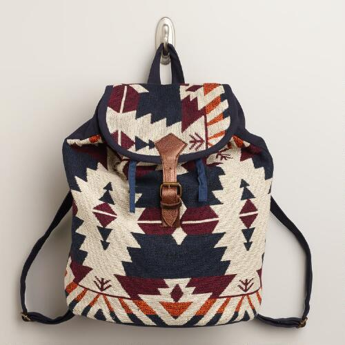 Navy and Brown Woven Backpack