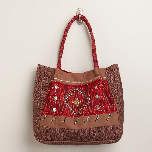 Red Embroidered Wool Bag