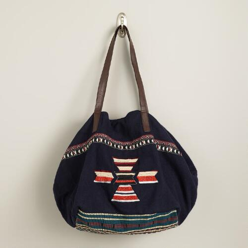 Navy and Orange Beaded Wool Bag