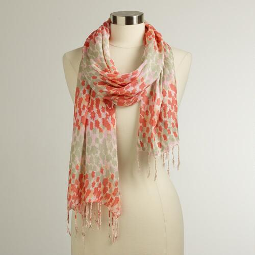 Pink and Gray Animal Print Scarf
