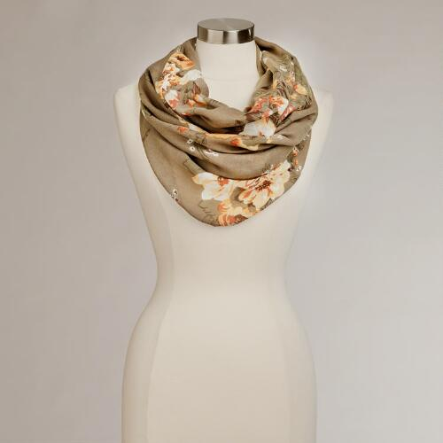 Taupe Floral-Infinity Scarf