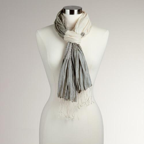 Ivory Silk Puckered Scarf