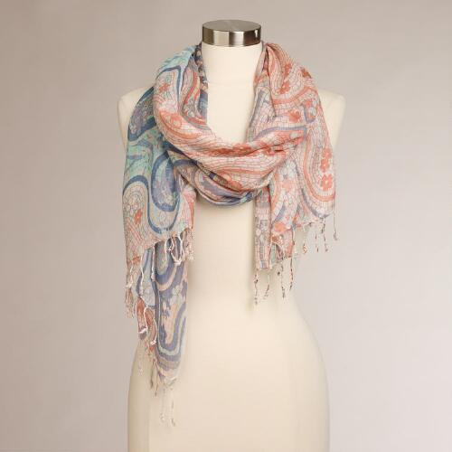 Pink and Blue Watercolor Scarf