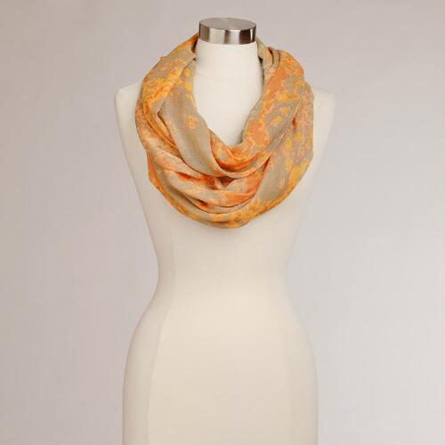 Taupe and Peach Watercolor Infinity Scarf